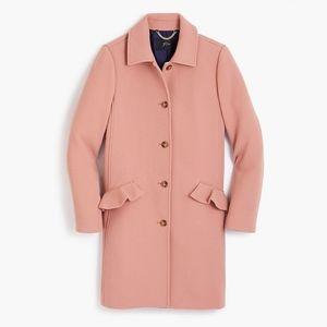 JCREW Top Coat Ruffle Pockets Double Cloth Wool